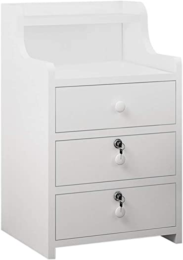 3 Drawer Simple End Table Bedroom Nightstand Coffee Table with Lock Cabinet Storage Drawer and Shelf Bedside End Table White