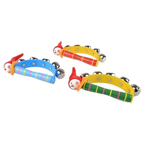 Vovotrade Baby-Regenbogen Musikinstrument -Spielzeug aus Holz Klingel-Ring Handbell Rattle