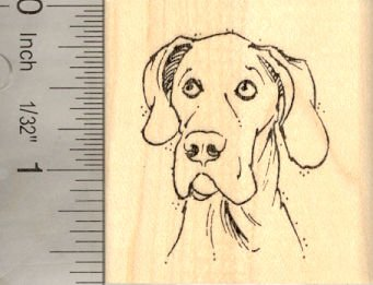 Great Dane with Natural Ears Rubber Stamp
