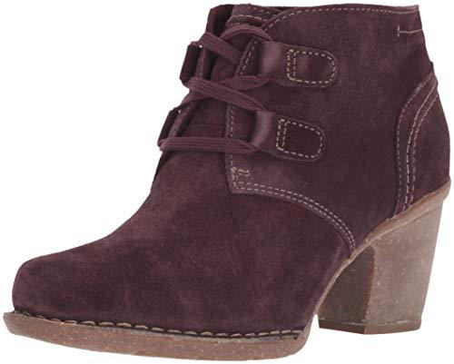 Distressed Suede Boot - CLARKS Women's Carleta Lyon Fashion Boot, Aubergine Suede, 075 W US