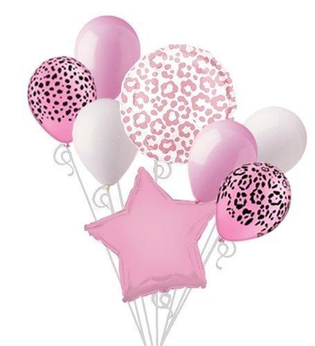 Pink Cheetah Print Balloon Bouquet Set Pink Leopard Print Party Decoration 8pc -