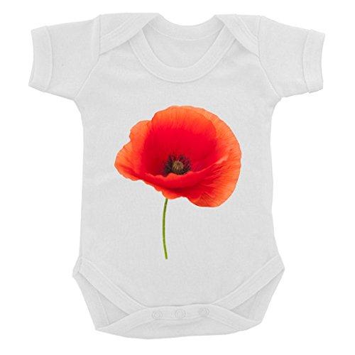 Single Field Poppy Image on White Baby Bodysuit