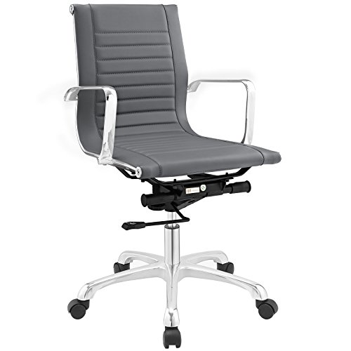 Modway Runway Faux Leather Adjustable Office Chair in Gray