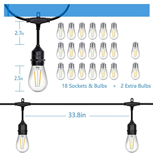 52ft LED Outdoor String Lights Commercial Grade Weatherproof - 20pack 2W Incandescent Bulbs Included - ETL Listed Heavy Duty - 18 Hanging Sockets - Perfect Patio Lights Bistro Market Cafe Lights by FrenchMay (Image #6)