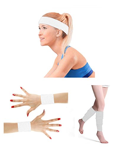 - 80's Retro Running Jogging Sports Headband Wristbands Leg Warmers Elbow Guard Set For Women Girls (White)