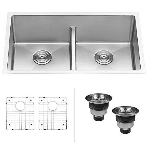 (Ruvati 32-inch Low-Divide Undermount Tight Radius 50/50 Double Bowl 16 Gauge Stainless Steel Kitchen Sink - RVH7411 (Renewed))