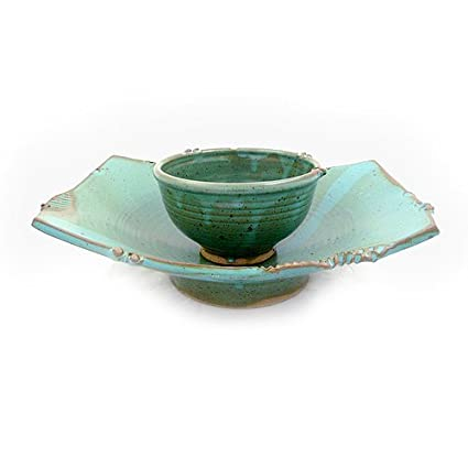 Asian-Inspired Pedestal Serving Dish and Bowl Stoneware Pottery Teal Color  sc 1 st  Amazon.com & Amazon.com | Asian-Inspired Pedestal Serving Dish and Bowl ...