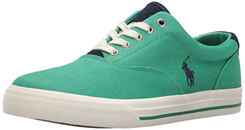 Polo Ralph Lauren Men's Vaughn-Colored Denim Sneaker, Green, 10 D US