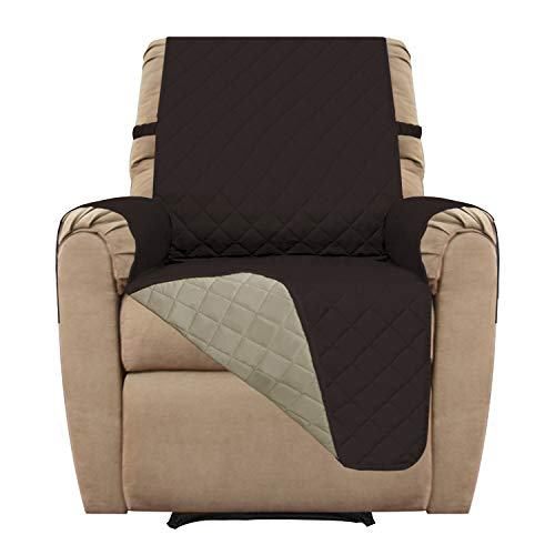 (Easy-Going Recliner Sofa Slipcover Reversible Sofa Cover Furniture Protector Couch Shield Water Resistant Elastic Straps Pets Kids Children Dog Cat (Recliner, Chocolate/Beige))