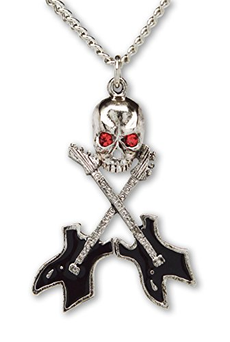 Real Metal Musician Skull with Crossed Guitars Silver Finish with Black Enamel Pendant Necklace