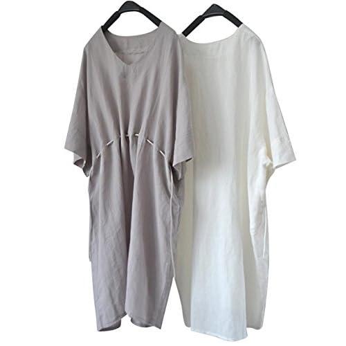 Yesno Tf7 Women Blouse Tunic Dress 100 Linen Casual Plus Size 3 4