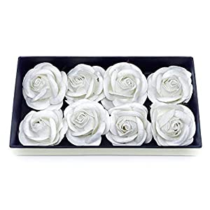 """2"""" White Paper Flowers Paper Rose Artificial Flowers Fake Flowers Artificial Roses Paper Craft Flowers Paper Rose Flower Mulberry Paper Flowers 10 Pieces 8"""
