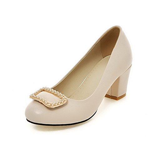 AllhqFashion Damen Ziehen auf PU Leder Rund Zehe Eingelegt Pumps Schuhe Aprikosen Farbe