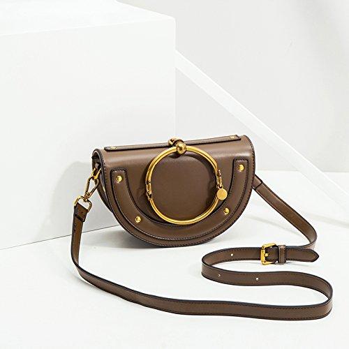 - Sprnb The New Metal Ring Buckle Saddle Bag Summer Small Bag All-Match Portable Shoulder Satchel,Caramel