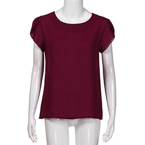 b3301c9c4fa4b FORUU Women Summer O Neck Chiffon Solid Short Sleeve Blouse Tops Clothes T  Shirt