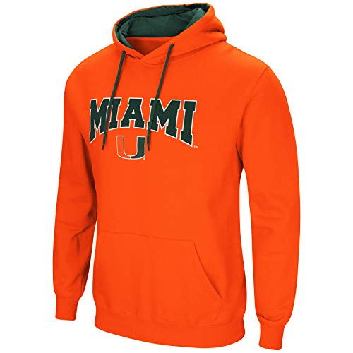 Colosseum NCAA Men's-Cold Streak-Hoody Pullover Sweatshirt with Tackle Twill-Miami Hurricanes-Orange-Large