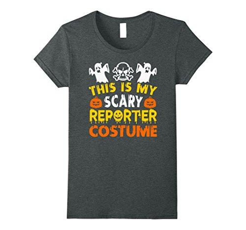 Reporter Costume (Womens This is My Scary Reporter Costume Halloween shirt Medium Dark Heather)
