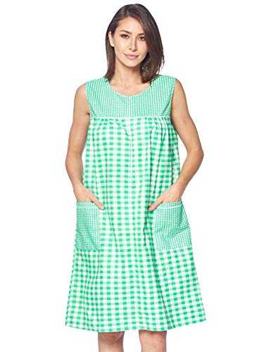 Casual Nights Women's Zipper Front House Dress Duster Sleeveless Housecoat Lounger Robe, Gingham Green, XX-Large (Adaptive Dress)