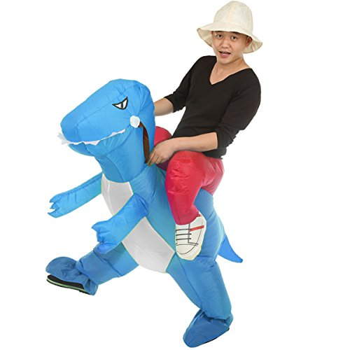 Inflatable Rider Costume Riding Me Fancy Dress Funny Dinosaur Unicorn Funny Suit Mount Kids Adult (Child(90-140CM), Blue)]()