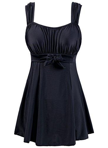 Sexy swimwear women one piece swim dress beach dress Black - 1