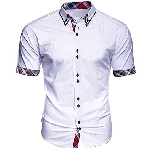 Fashion Plaid Short Sleeve Shirt Men's Business Patchwork Button Casual Top]()