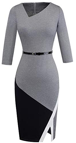 HOMEYEE Women's Elegant Patchwork Sheath Sleeveless Business Dress B290 (XXL, Grey)