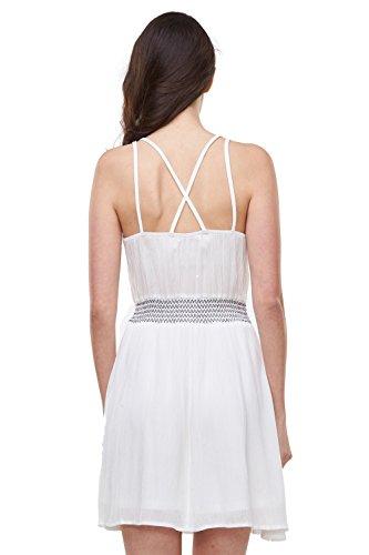 Glo-Story Damen A-Linie Kleid Weiß Weiß S, M, L, XL