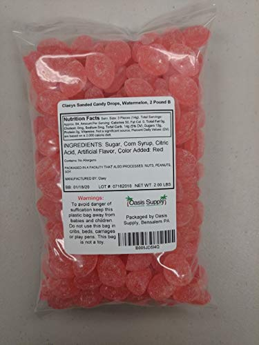 Claeys Sanded Candy Drops Watermelon 2 Pound