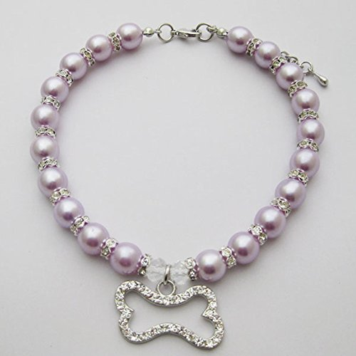 PetFavorites Crystal Dog Pearls Necklace Jewelry with Bling Rhinestone Bone Charm for Small Dogs Girl - Chihuahua Yorkie Clothes Costume Outfits Accessories, Adjustable (Purple, 12 to 14-Inch)