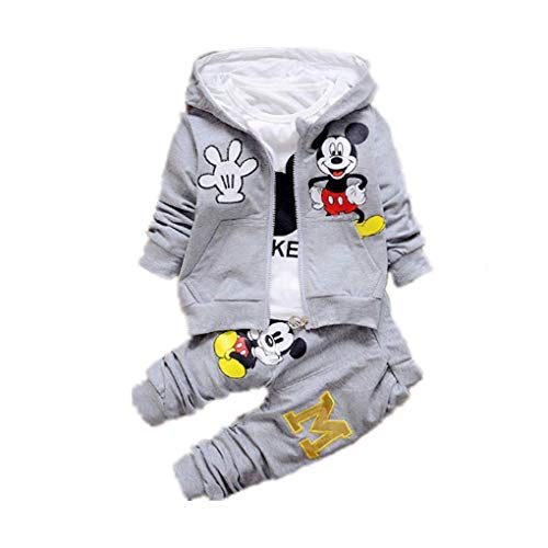 Autumn Winter Coat - New Children Girls Boys Fashion Clothing Sets Autumn Winter 3 Piece Suit Hooded Coat Clothes Baby Cotton Brand Tracksuits (Grey, 9M)