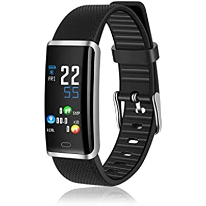 CUHAWUDBA Smart Bracelet 0 96 LED Touch-Screen IP67 Waterproof Heart Rate Monitor Fitness Tracker Wristband Black silver Estimated Price £10.86 -