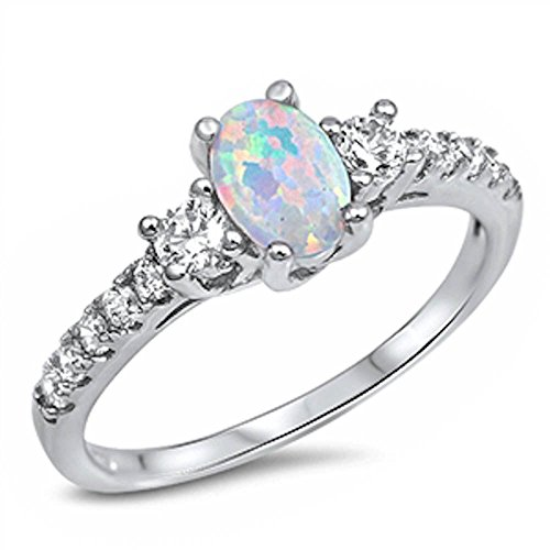 Lab Created White Opal & Cz Fashion Engagement .925 Sterling Silver Ring Size 6 (Diamond Created Opal Ring)