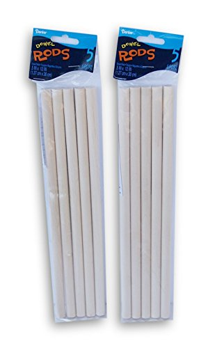 Wood Craft Dowels 12 Inches Tall x 0.5 Inch Diameter - 10 Count