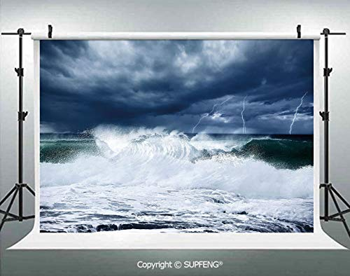 Background Thunderstorm and Lightning on Beach Cloudy Rainy Sky Powerful Tide Cold Dramatic Decorative 3D Backdrops for Interior Decoration Photo Studio Props]()