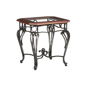Southern Enterprises Prentice Living Room Table Set of 4, Black with Dark Cherry Finish