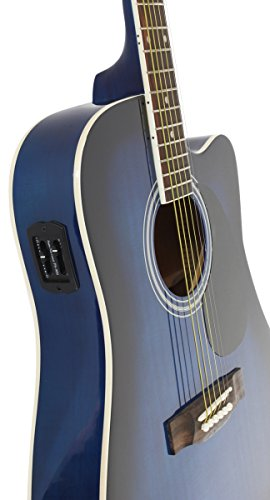 Jameson Guitars Full Size Thinline Acoustic Electric Guitar with Free Gig Bag Case & Picks Blue Right Handed - Image 4