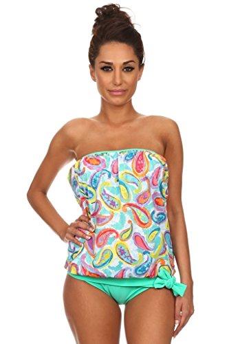 Mint Paisley Bandeau Blouson Tankini Swimsuit Set Size 16