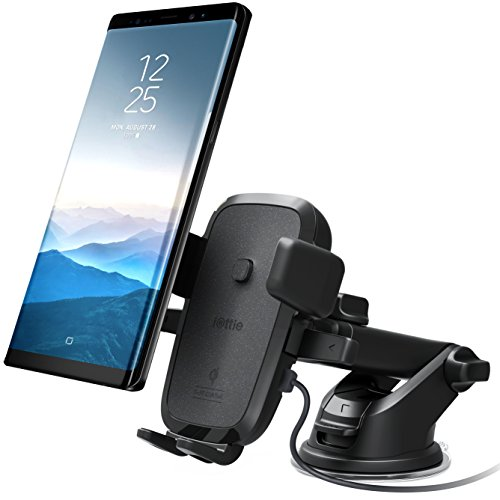 iOttie Easy One Touch Qi Wireless Fast Charge Car Mount for Samsung Galaxy S9 Plus S8 Edge Note 9 & Standard Charge for iPhone X 8 Plus & Qi Device Includes Dual Charger [10 Dollar Amazon Credit]