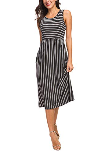 - INWECH Women's Casual Sleeveless Loose Fit Stripe Dresses Summer Flared A Line Dress with Pockets (Black 2, X-Large)
