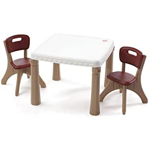 step2 lifestyle kitchen plastic table and chairs set for kids tan toys games. Black Bedroom Furniture Sets. Home Design Ideas