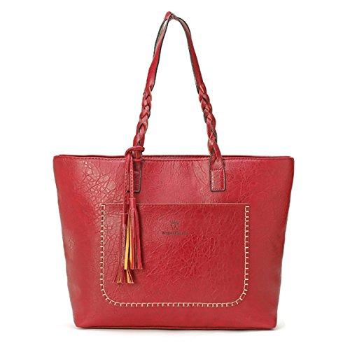 Business Casual Handbags - Women Vintage Tote Bag, OURBAG Ladies PU Leather Tote Shoulder Bag Handbag Purse Big Large Wine Red