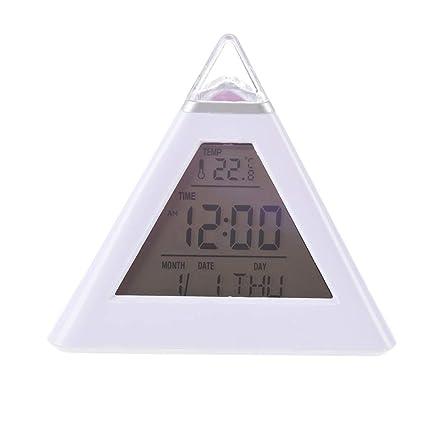 Lanker Reloj Despertador para Niños - Reloj Digital con Forma De PiráMide, Cambio De 7