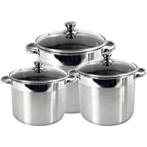 Heuck 3-Piece Encapsulated Bottom Stockpot with Stainless Steel Glass Lid Includes a Brushed exterior and 8-, 12- and 16 Quart stockpot