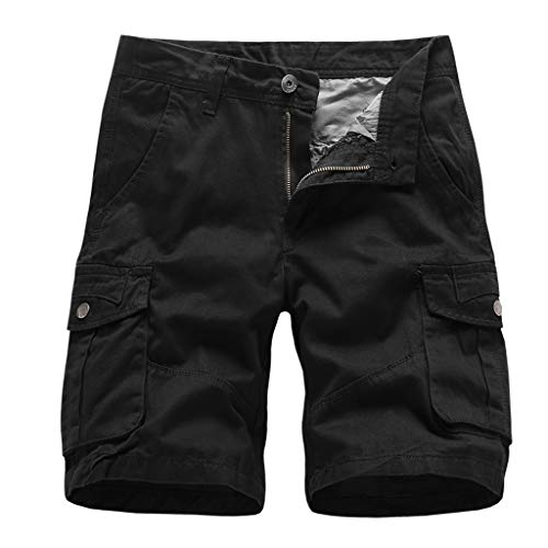 Men's Cargo Shorts Fashion Summer Casual Loose Baggy Elastic Waist Solid Slim Fit Plain Short Pants with Pockets Black ()
