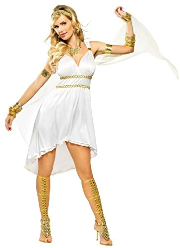 OvedcRay Greek Goddess Olympia Venus Costume Roman Athena Short Toga Dress White ()