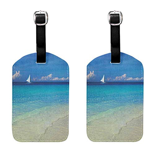 Pack of 2 Multi-patterned luggage tag Nautical Suitable for children and adults Exotic Tropic Beach in Philippines Island Horizon Summer Paradise Concept Turquoise Cream (Best Ukulele Brand In The Philippines)