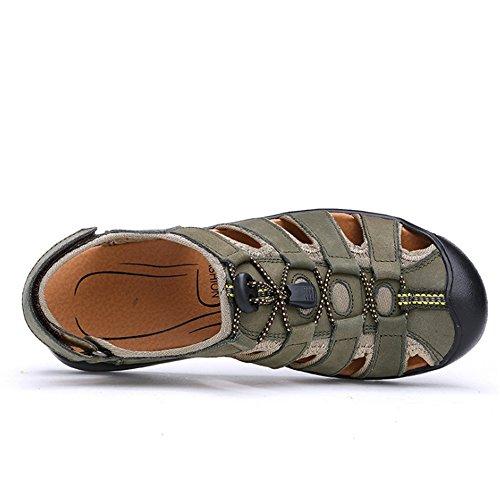Colisión para 3 Hombres Sandalias Aire 0 Wangcui 27 24 Verde Al 5 Verde Casuales Zapatos 41 Color CM De tamaño EU Cuero Transpirables para Sandalias Libre Zapatos 1 4wwq6UO0