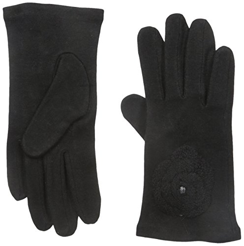 Gloves International Women's Wool Blend Gloves with Flower, Black, Small/Medium