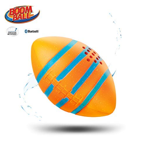iHip Boomball Football Style Portable Outdoor Bluetooth 4.2 Speaker, Waterproof, Floatable, Shock Proof, Play and Listen to Music- Orange - Speaker Ihip