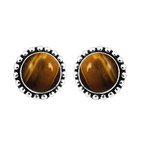 (4.20ct,Genuine Tiger Eye & 925 Silver Plated Stud Earrings Made By Sterling Silver Jewelry )